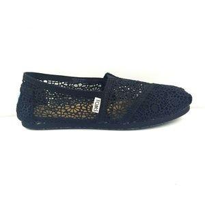 Toms Black Alpargata Crochet Lace Ballet Flats 7.5